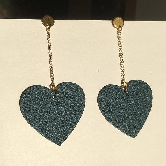 Boucles d'oreilles cœur bleu pétrole