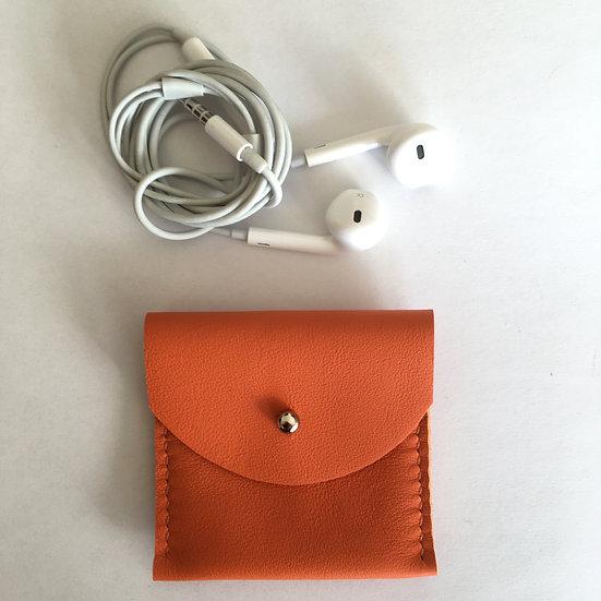 Pochette à écouteurs orange