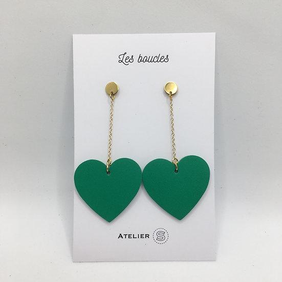Boucles d'oreilles cœur vert vif