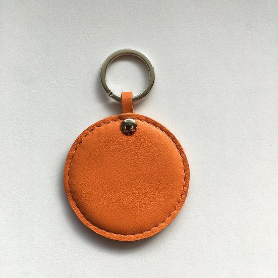 Porte-clés rond cousu orange