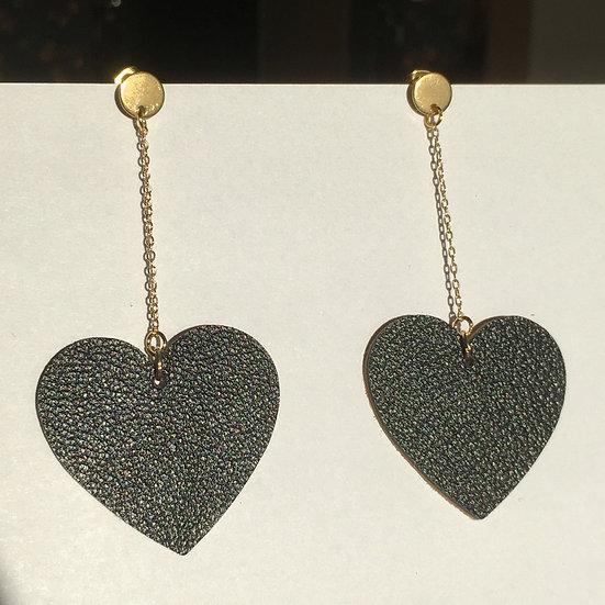 Boucles d'oreilles cœur noir