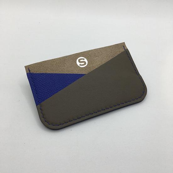 Porte-cartes beige, bleu Klein, gris acier
