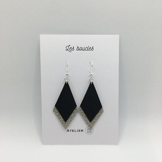 Boucles d'oreilles noir / argenté texturé grand modèle