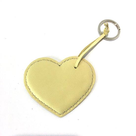Porte-clés cœur jaune poussin