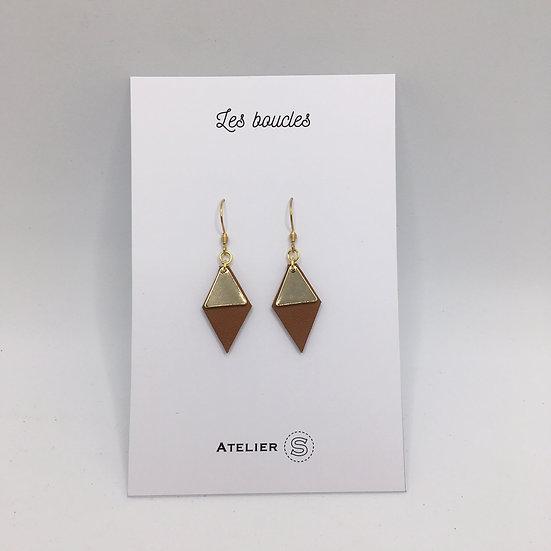 Boucles d'oreilles métal doré / cuir camel