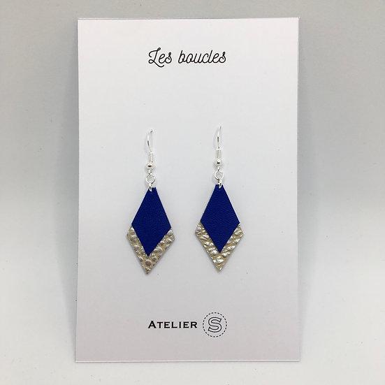Boucles d'oreilles Bleu Klein / argenté texturé petit modèle