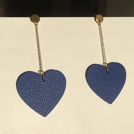Boucles d'oreilles cœur bleu Klein