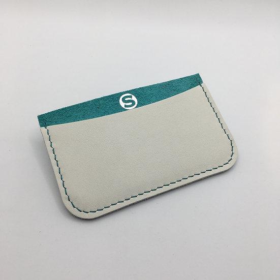 Porte-cartes turquoise et blanc