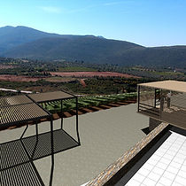 Stavropoulou Architects, Photoreal view of visiting areas at Domaine Spyropoulos