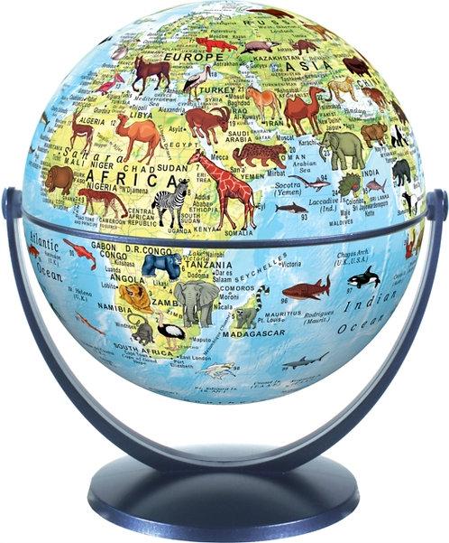 Animal World Globe 15cm : Swivel and Tilt World Animal Globe