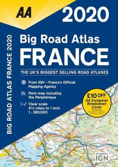 AA Big Road Atlas France 2020