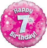 """18"""" Birthday Pink Holographic Foil Balloon"""