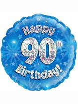 """18"""" Birthday Blue Holographic Foil Balloon"""