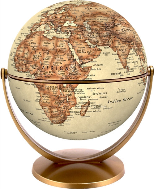 Antique World Globe 15cm : Swivel and Tilt World Antique Globe
