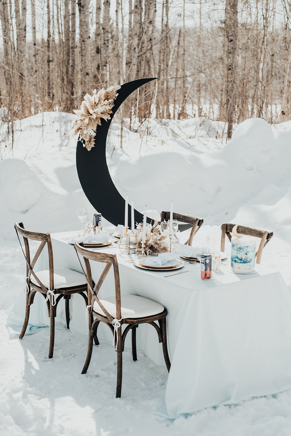 Celestial winter elopement at Barron Canyon Trail, Algonquin Provincial Park, Ontario. Photo by Autumn Liggett Photography.