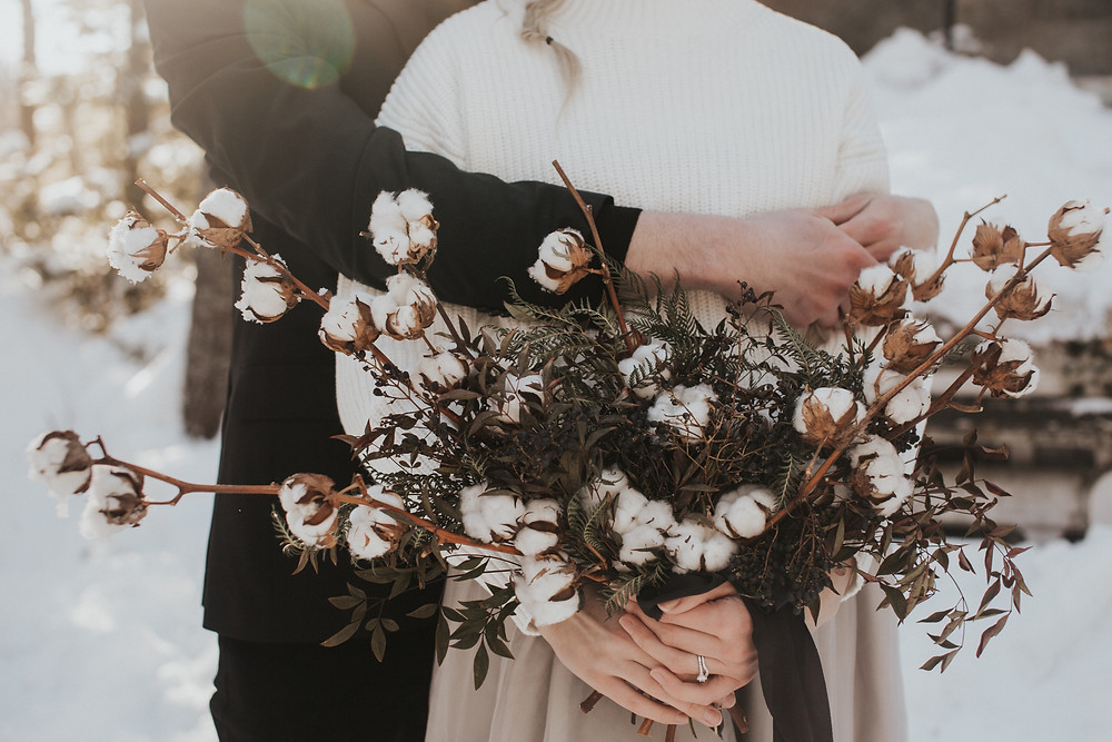 Cotton winter wedding bouquet at Petawawa Choose and Cur in Petawawa, Ontario. Photo by Holly Anne Portraiture.