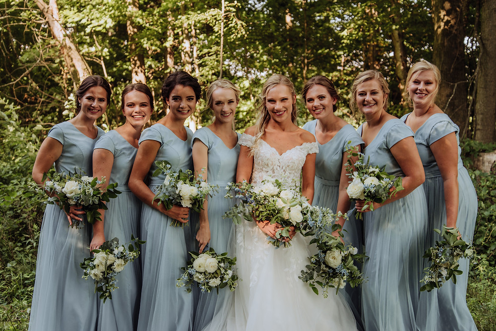 Romantic Blue and White Summer Wedding in Stratfordville, Ontario, Canada. Photo by Up and Away Photography.