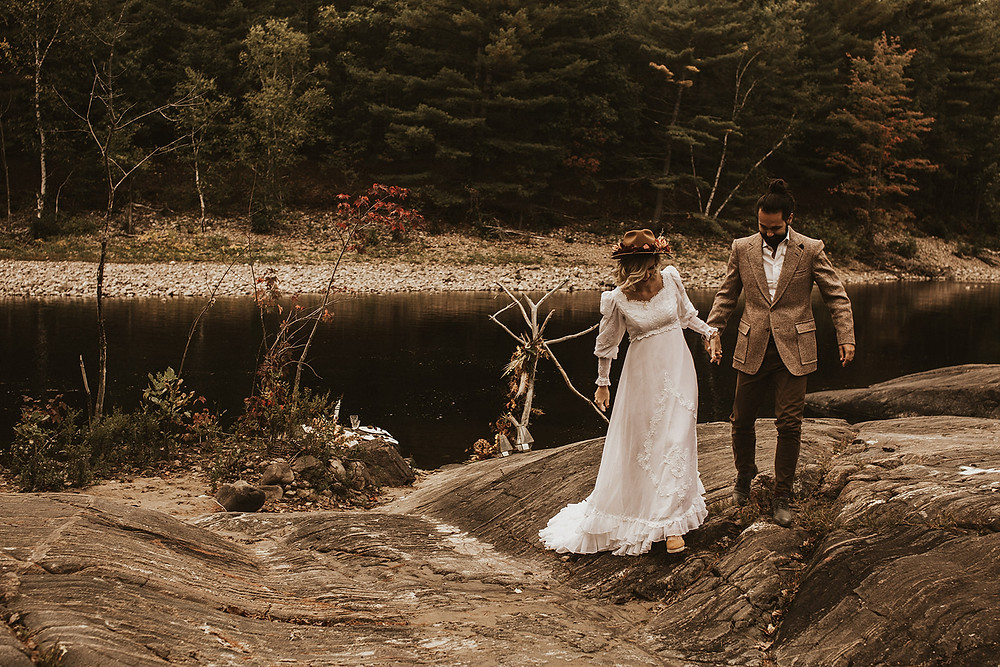 Vintage fall elopement at the Petawawa River in Petawawa, Ontario. Photo by Holly Anne Portraiture