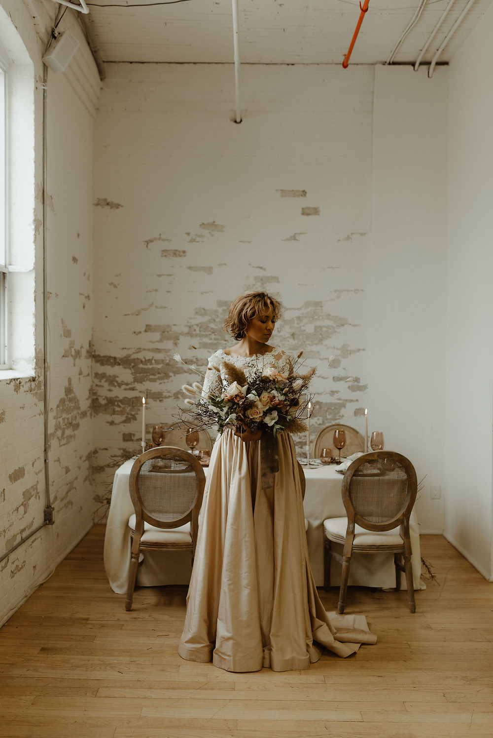 Earthy industrial spring wedding in Toronto, Ontario. Photo by Sam Wilde Photography.