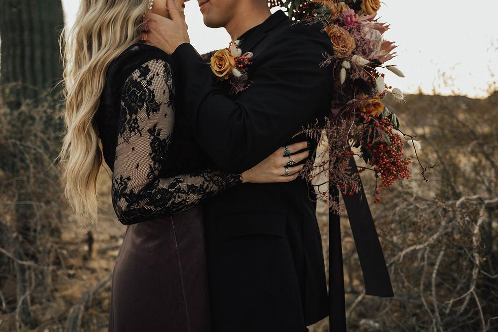Edgy desert elopement at Scorpion Gulch, Arizona. Photo by Ak Lonski Photography.
