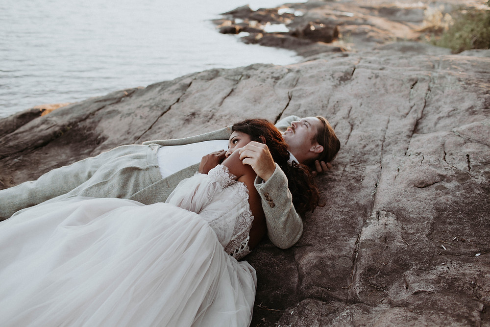 Earthy Vibrant Ombre Elopement at Silent Lake Provincial Park in Bancroft, Ontario. Photo by Brittany G Photography.