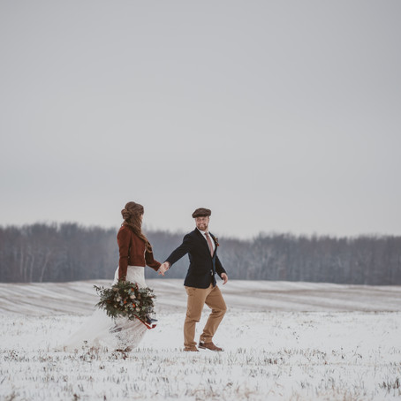 Colourful Boho Winter Wonderland Wedding in Delhi, Ontario