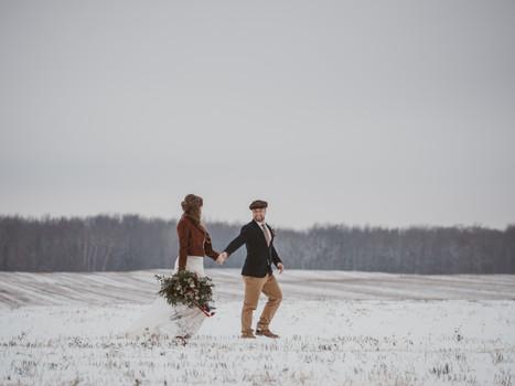 Colourful Boho Winter Wonderland Wedding in Delhi, Ontario