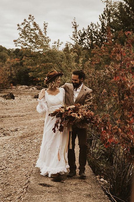 Vintage fall styled elopement at Petawaw