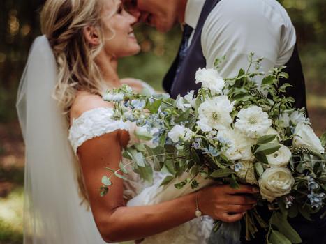 Romantic Blue and White Summer Wedding in Stratfordville, Ontario.