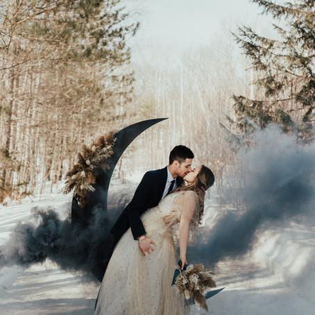 Celestial Winter Elopement Inspiration at Barron Canyon Trail, Algonquin Provincial Park, Ontario