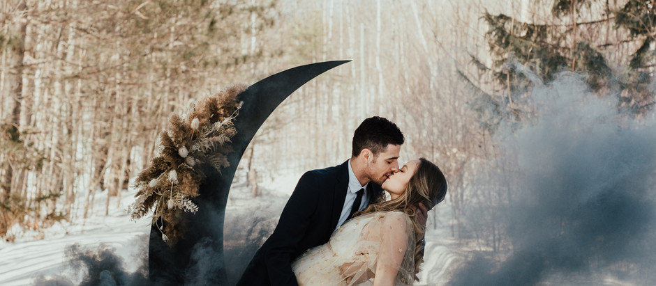 Celestial Winter Elopement Inspiration at Barron Canyon Trail, Algonquin Provincial Park, Ontario