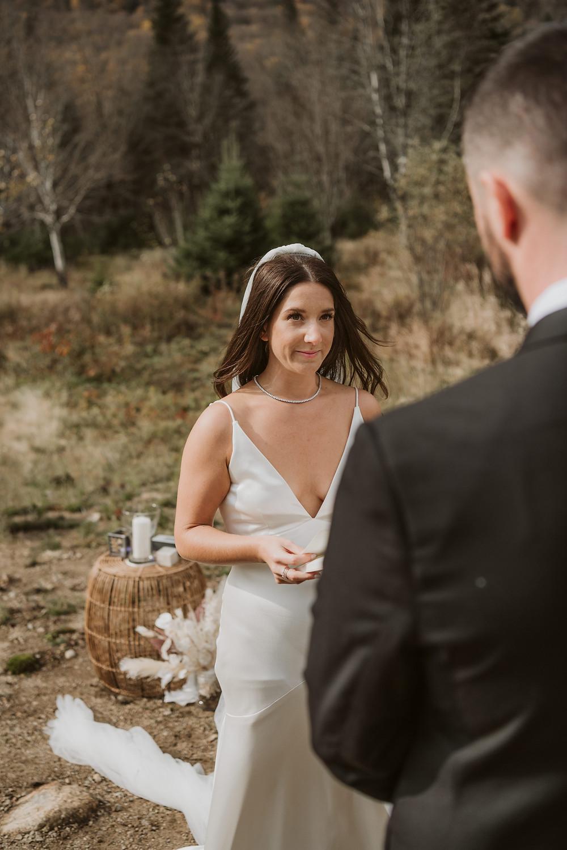 Outdoor rainy adventurous elopement at the Chalet Noge-01 in Sainte Brigitte de Laval, Quebec. Photo by Nicole Alex Photography_