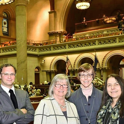 With Assemblywoman Lifton, Margaret, and Cathy in the Assembly Chamber