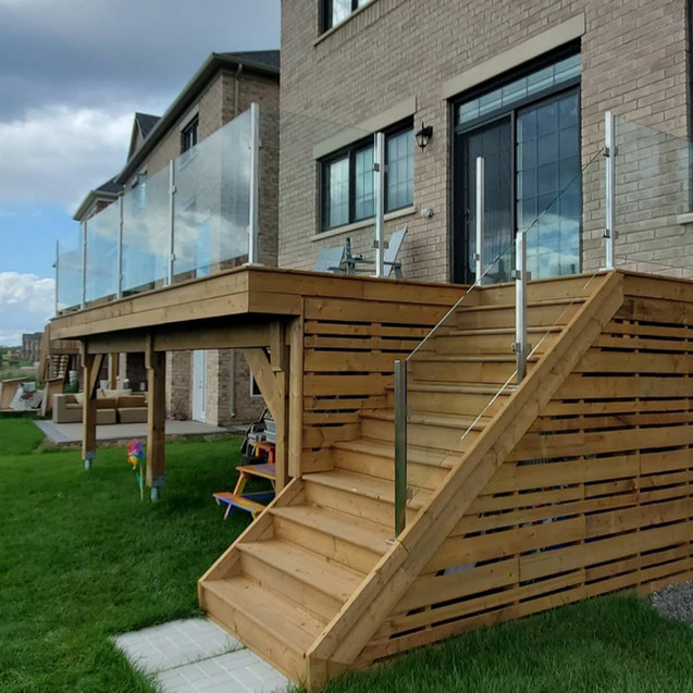 Steel posts on a deck