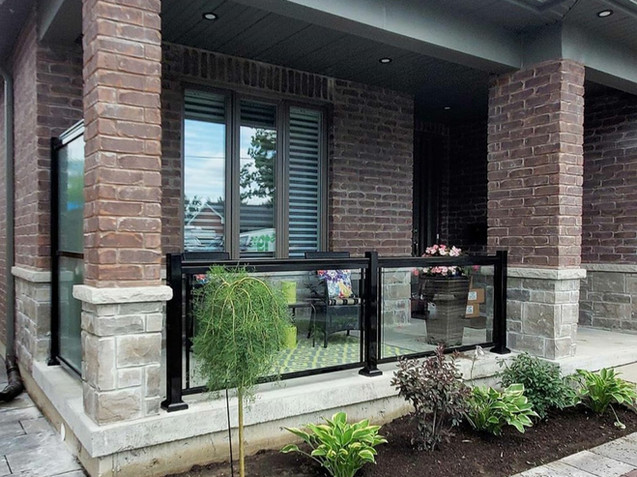 Aluminum glass railings with a privacy screen