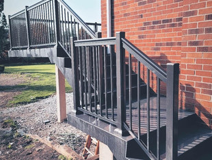 Aluminum railing on stairs