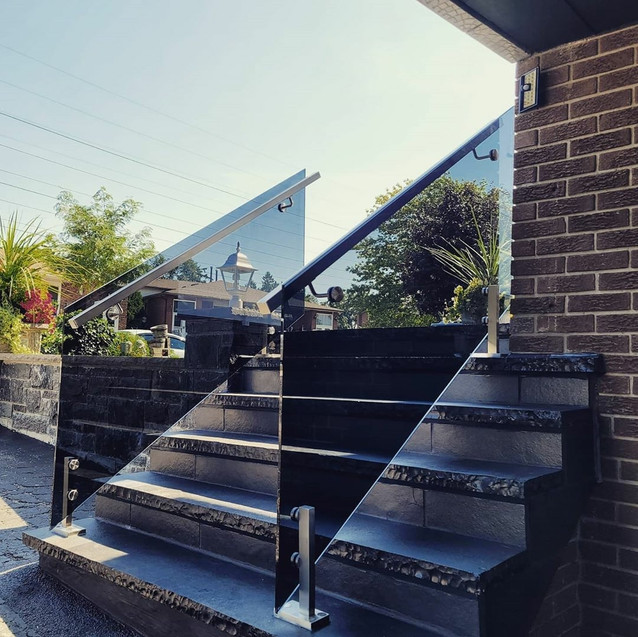 Black tinted glass with steel miniposts