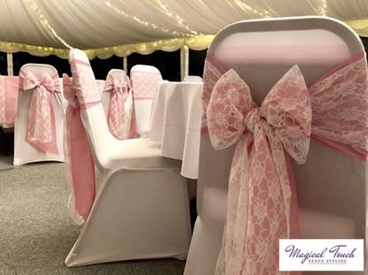 Pink Taffeta & White Lace Bows