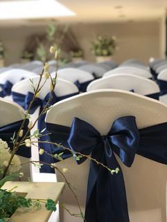 Navy Satin Bows