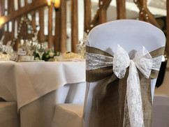 Hessian and White Lace Bows
