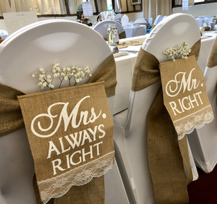 Hessian Sash with Bride & Groom Signs