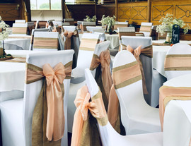 Blush Pink Silk Organza Bows on Hessian