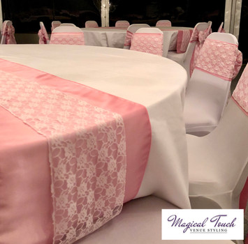 Pink Taffeta & White Lace Table Runners