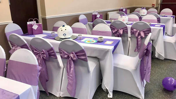 Lilac Taffeta Sashes with Chair Covers
