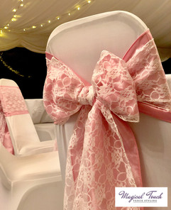 Pink Taffeta with White Lace Bows