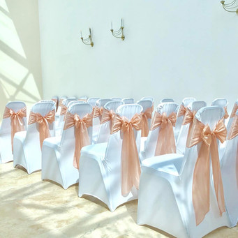 Blush Pink Silk Organza Bows and White Chair Covers