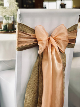 Hessian & Blush Pink Silk Organza Bows