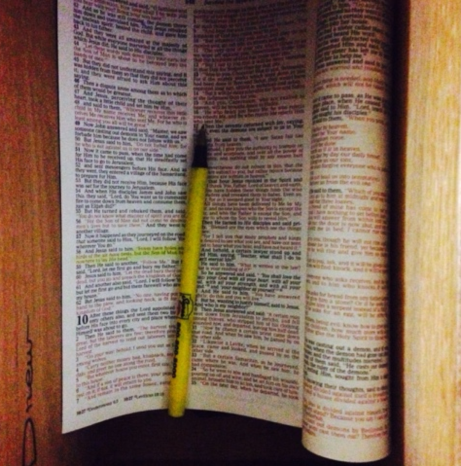 """bible in desk drawer.  Luke 9:58 is highlighted.  This is the verse:  Jesus replied, """"Foxes have dens and birds have nests, but the Son of Man has no place to lay his head."""""""