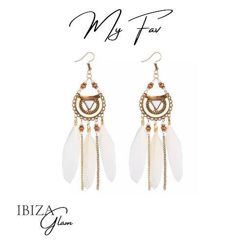 Boho White Feather oorbellen
