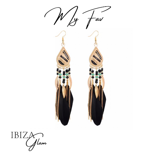 Boho Black Feather oorbellen